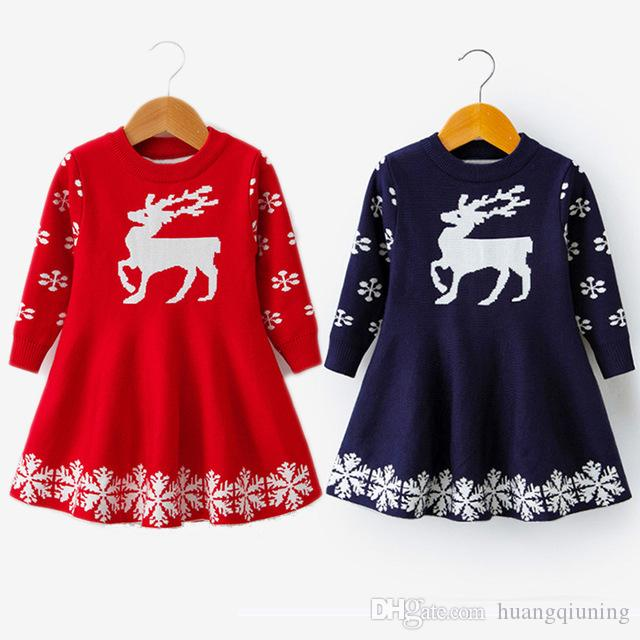 2019 New Year Baby Girls Christmas Dresses For Girls Dress With Long  Sleeves Deer Dress Birthday Christmas Santa Claus Kids Costumes From