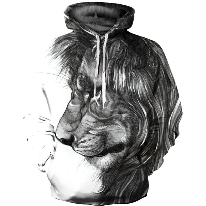 Vintage Men Women Autumn Winter Sad Lion Hoodie Fashion Animal Print Hooded Sweatshirt Plus Size Men Pullovers Tracksuits 2018