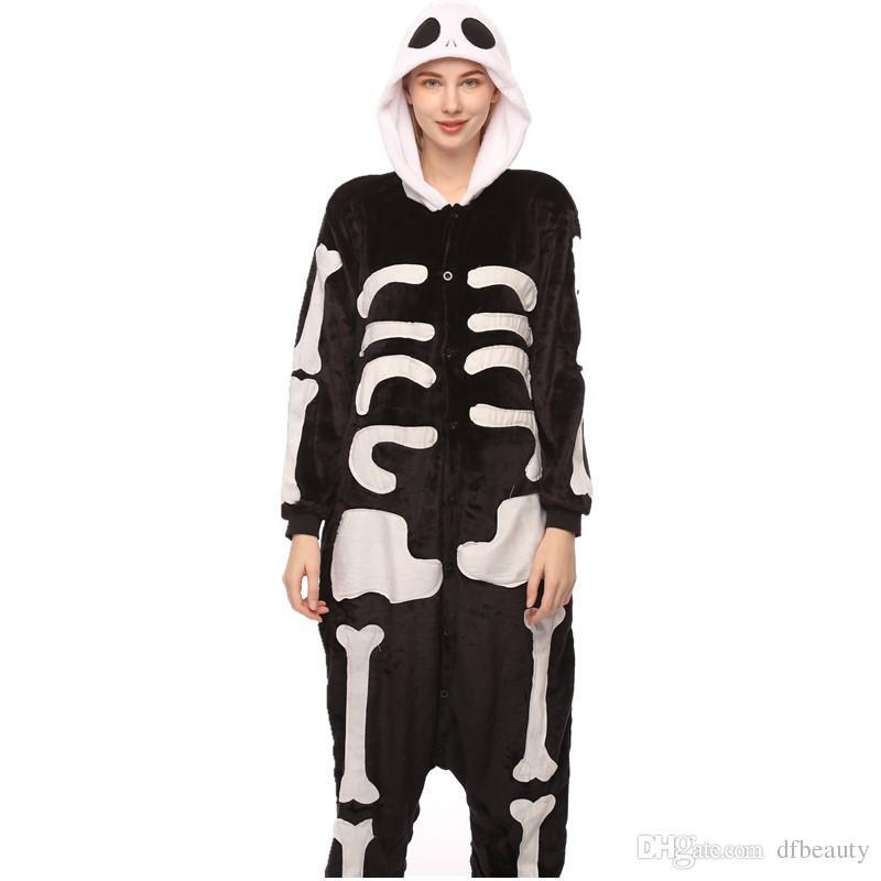 Toptan Karikatür hayvan tek parça pijama kafatası iblis kadın sonbahar kış cosplay fanila unisex pijama hayvan onesie pijama