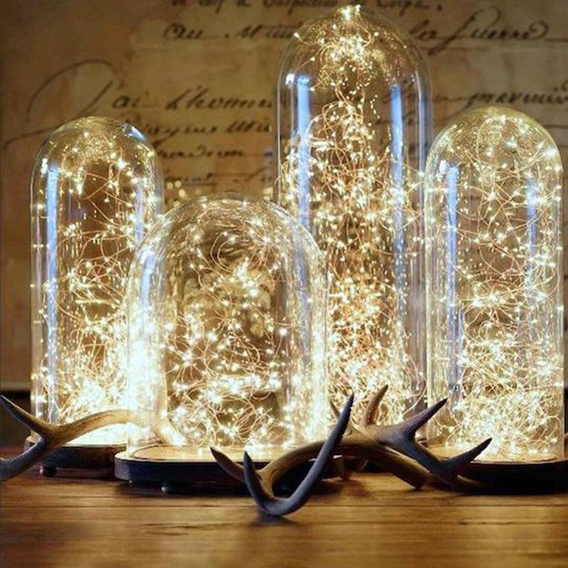 Cordons d'éclairage de fil de cuivre de vacances LED 2m 3m 4m 5m 10m USB blanc chaud 6000K cordes rideau arbre jardin extérieur décoration de la maison lumière