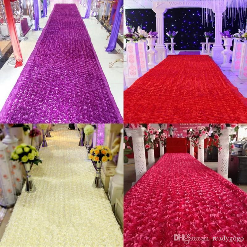 New Arrival Luxury Wedding Centerpieces Favors 3D Rose Petal Carpet Aisle Runner For Wedding Party Decoration Supplies 14 Color Available