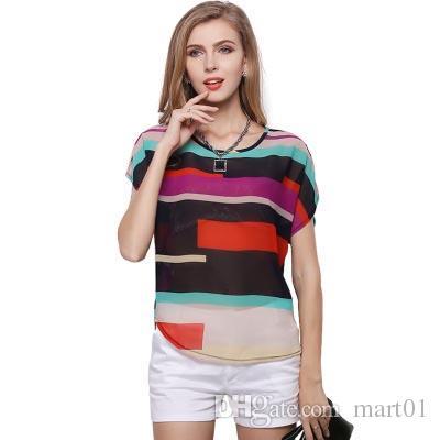 Feminina código grande cor listras arco-íris T-shirt, mangas curtas soltas, listras irregulares coloridas camisa de chiffon