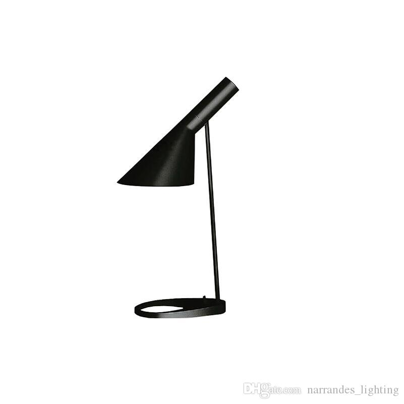 루이스 폴센 아르네 야콥 센 블랙 화이트 테이블 램프 유럽 AJ 검정, 흰색 철 데스크 램프 카페 통로 홀 E27 백색 LED 금속 램프 읽기