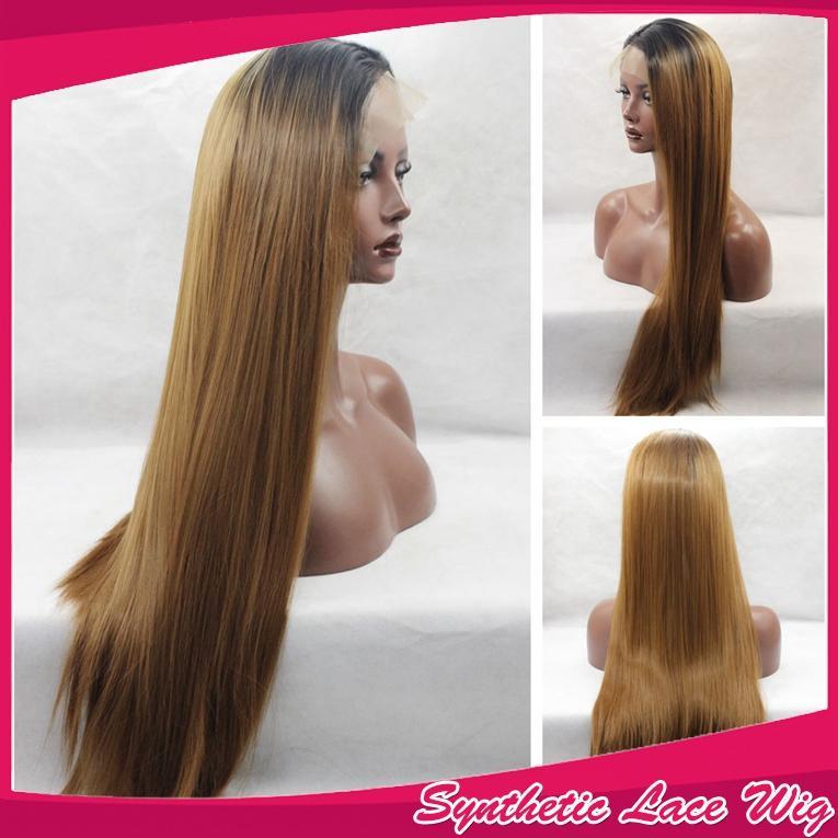 Caliente sexy ombre 1b # 30 # rubia larga sedosa recta parte media peinado peluca sintética del frente del cordón suave bebé pelo puede HeatPermed