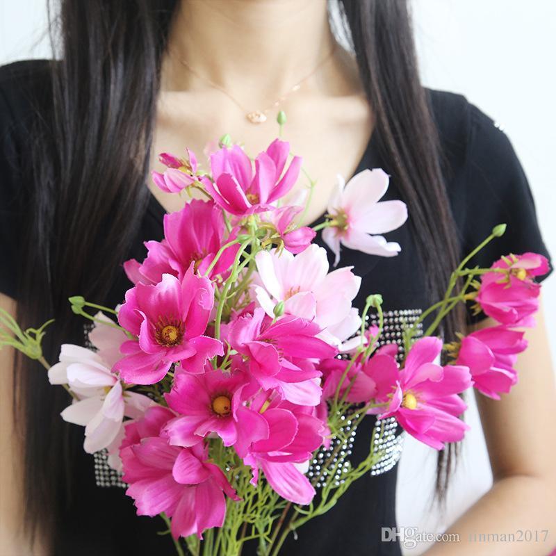 10 pcs calliopsis de seda flor artificial hotel de casa festa de casamento mão buquê de luxo floral decoração galsang flores