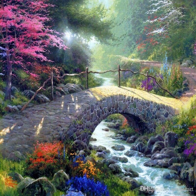 Thomas Kinkade Landscape Oil Painting Reproduction High Quality Giclee Print on Canvas Modern Wall Home Art Decoration for living room JH933