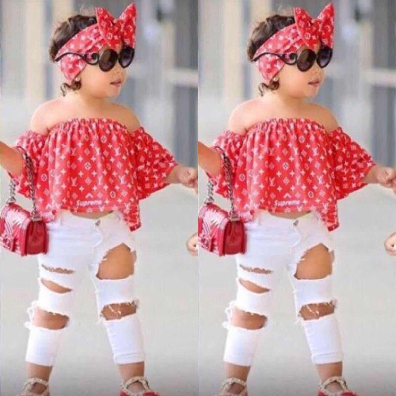 Bébés filles Vêtements Kids Set Top Fashion Pant Deux enfants Piece Suit Summer Filles Tenues Boutique
