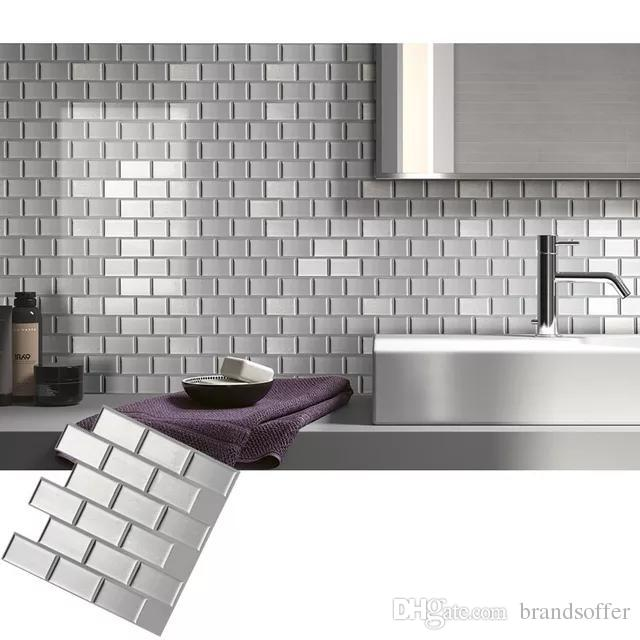 Peel /& Stick 3D Self Adhesive Mosaic Wall Tile Sticker Silver Subway