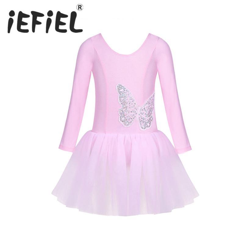 iEFiEL 걸스 코튼 Tulle 긴 소매 버클리 발레 댄스 체조 레오타드 투투 드레스 어린이 성능 복장