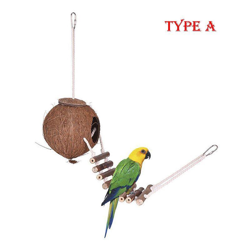 Doğal Hindistan Cevizi Kabuğu Kuş Kafesi ile Yuvalama Ev Kuş Besleyici Asılı Döngü Hideaway Merdiveni ile Papağan Oyuncak