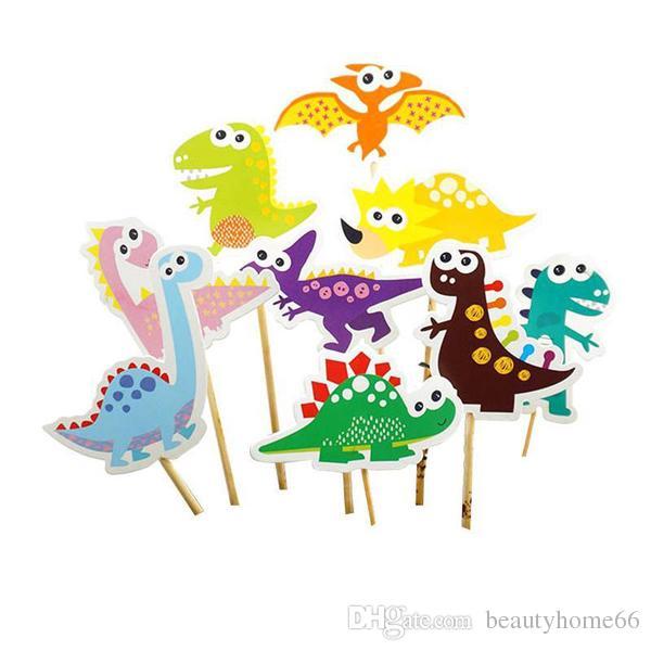 Free Shipping 9pcs/set Happy Birthday Popular DIY Cake Flag Cartoon Dinosaur Cake Wrapper Birthday Party Decoration For Kids Gift