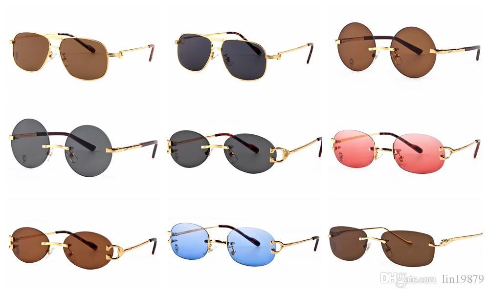 Marque Star Style mode hommes Lunettes de soleil Femmes Monture sans cadre en métal pieds en bois Lunettes de soleil Vintage Lunettes de vue en plein air Oculos de sol