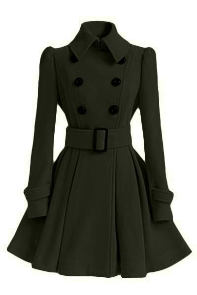 الربيع معطف الصوف خندق المرأة ضئيلة مزدوجة الصدر الشتاء معاطف سوداء قميص طويل للمرأة