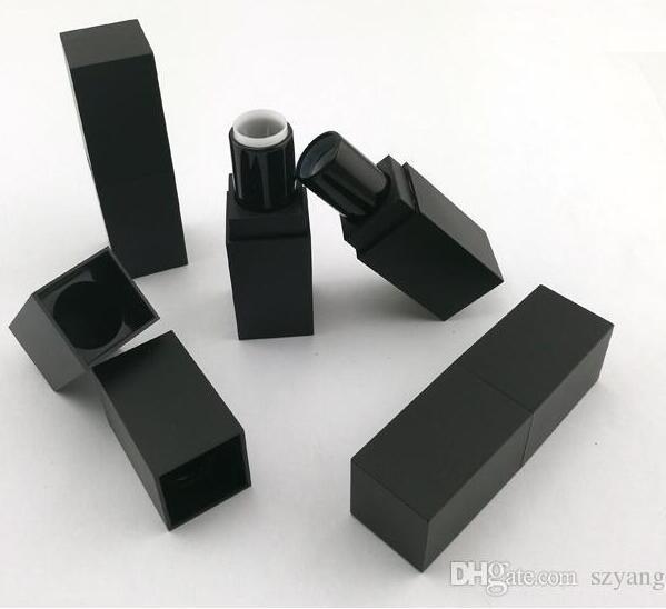 100 sztuk pusta wysokiej jakości plastikowa szminka rurka, czarny outter kwadratowy kształt wewnętrzny złoty DIY szminka