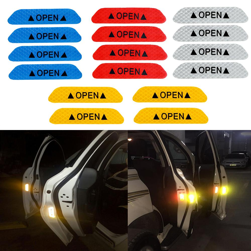 4x Super White Car Door Open Stickers Reflective Tape Safety Sign Warning Decal