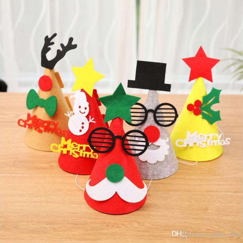 Hot Kids DIY Felt Cloth Christmas Hat Cartoon Santa Claus Snowman Elk Party Hats Adult Children Party Celebration Cap Props