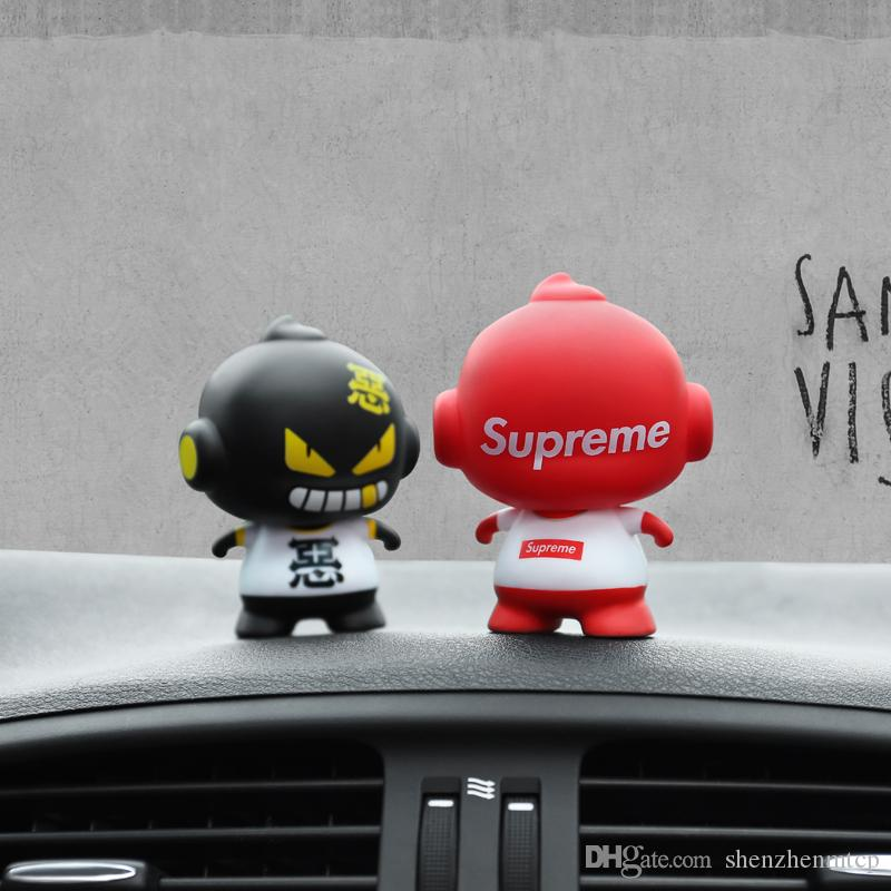 Car Ornament Cartoon Doll Adornment Cute Expression Car Decoration Dashboard Auto Interior Decor Car Accessories for Gifts