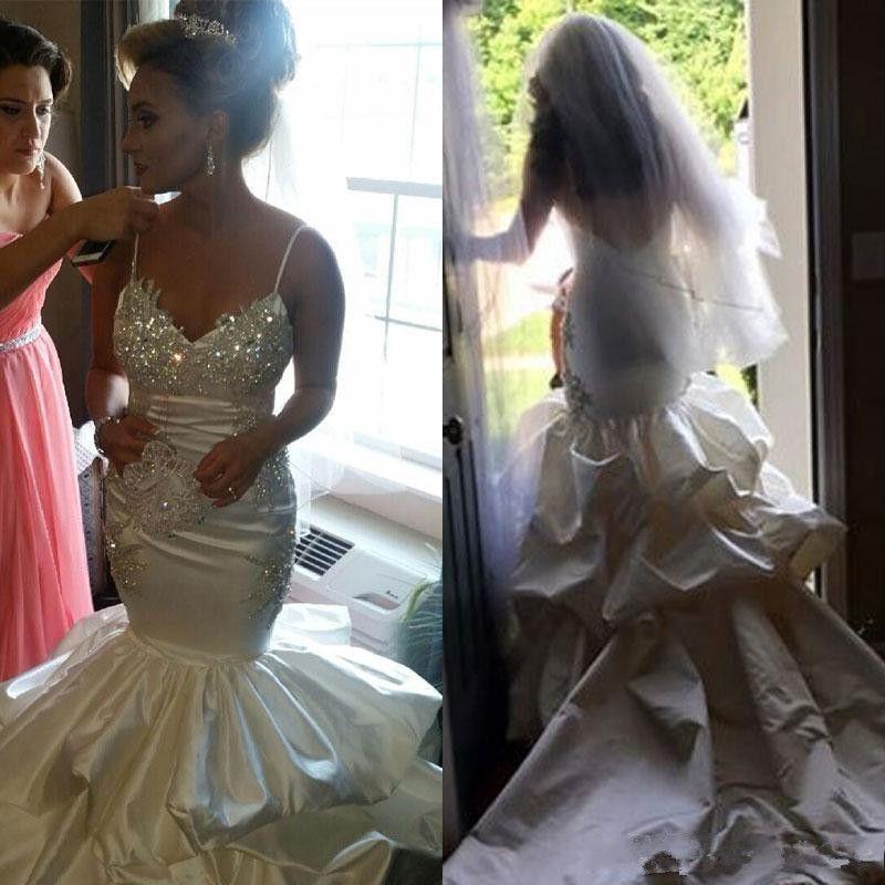 Longue Balayage Robes De Mariée Sirène 2018 Bretelles Spaghetti Perlées Robes De Novia Dos Nu Sexy Robes De Mariée De Mariage