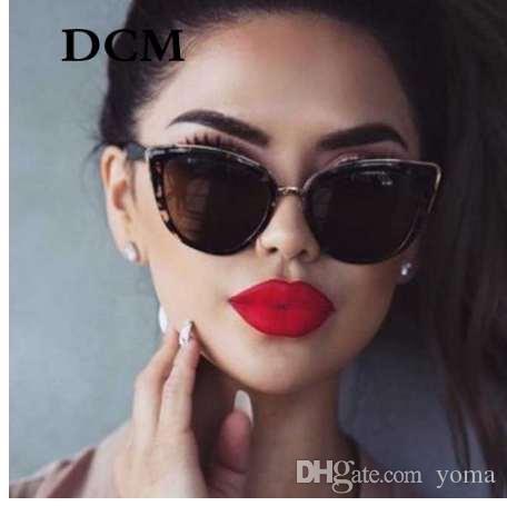 DCM Cateye Güneş Kadınlar Vintage Degrade Gözlük Retro Kedi göz Güneş gözlükleri Kadın Gözlük UV400