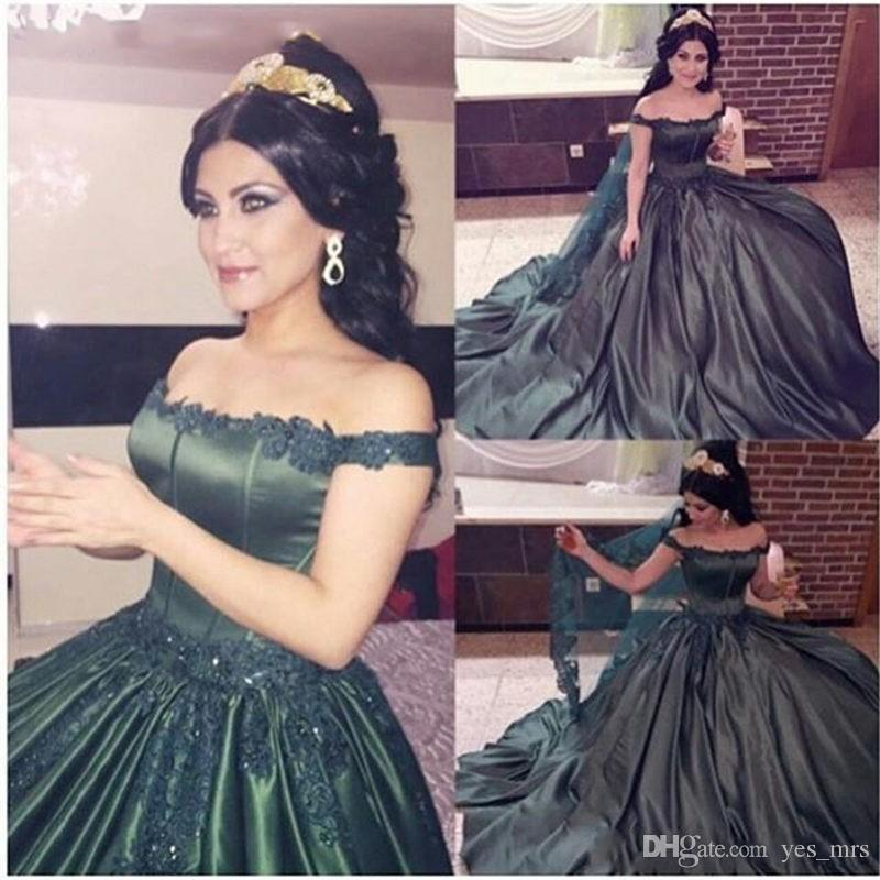 2018 Quinceanera Ball Gown Dresses Arabic Off Shoulder Hunter Green Lace Applique Beads Sweet 16 Long Satin Formal Party Prom Evening Gowns