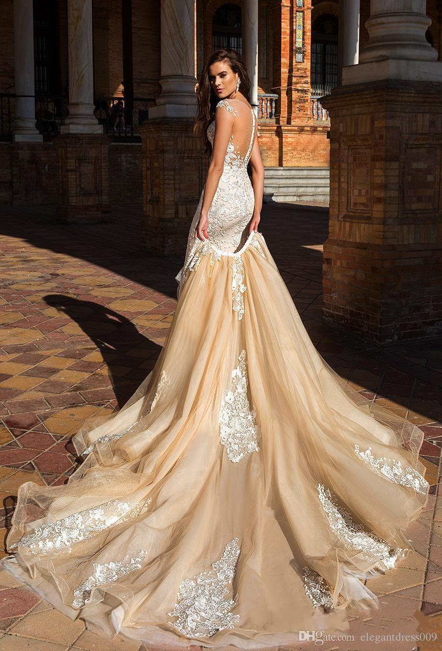 Großhandel Milla Nova 2018 Champagner Meerjungfrau Hochzeitskleid ...