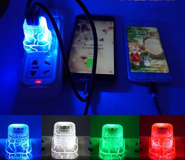 LED двойной USB зарядное устройство трещины стиль цвет светящийся свет вверх 5 В 1A 2A AC путешествия Главная зарядки адаптер питания для iphone Samsung высокого качества