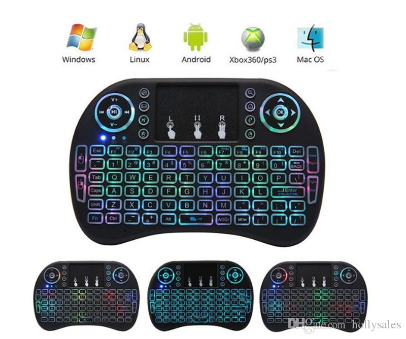 Rii I8 Smart Fly Air Mouse Remote colorfull Retroiluminación 2.4 GHz Teclado inalámbrico Bluetooth Control remoto Touchpad para TV Android Box