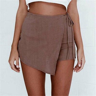 Calças Quentes Sexy Verão Casual Shorts Praia Cintura Alta Curto Moda Senhora  Mulheres 6f388bc5c8557