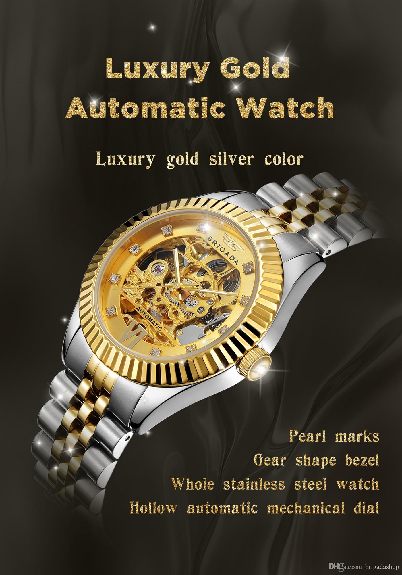 48dc3f6bac79 Compre BRIGADA Relojes Suizos Relojes Automáticos De Oro De Lujo Para  Hombres