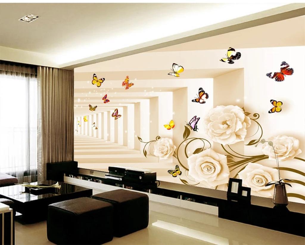 Custom Retail Современная Романтическая Бабочка Любовь Цветочный Фон Стены Красивая Роза Нежная Открытая Бабочка Летающие Росписи