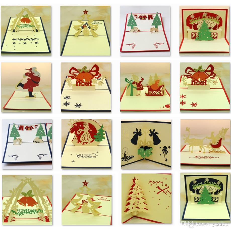 Creative Christmas Bell 3D laser cut pop up paper handmade postcards custom greeting cards gifts for lover party Xmas Gift for Kids Friends