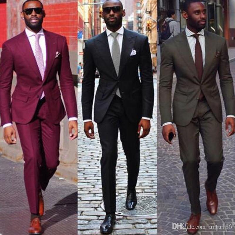 Özelleştirilmiş yeni sıcak erkek takım elbise erkek iş resmi elbise iki parça bir takım elbise (ceket + pantolon) düğün damat groomsmen elbise
