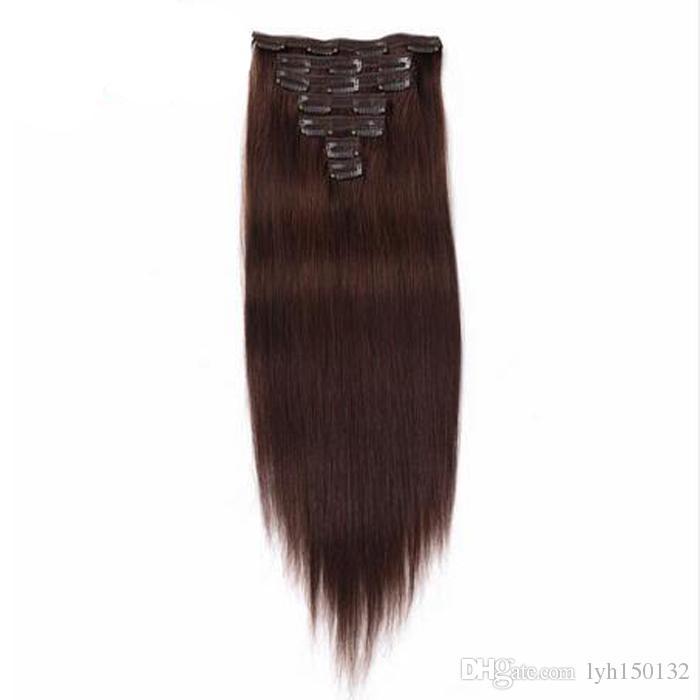 Brasilianisches Remy gerades Haar-Afroamerikaner-Klipp in den Menschenhaar-Verlängerungen 100G 7pcs 100% Menschenhaar-Klipps in keinem Verschütten, verwirren frei