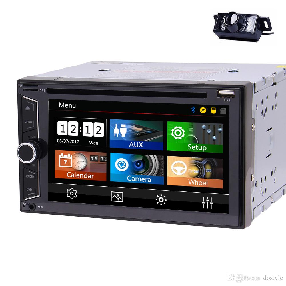 6.2 '' Doble DIN In Dash Car DVD Reproductor de CD Unidad estéreo principal para automóvil Bluetooth USB Radio AM / FM para Universal + Cámara de respaldo + Control remoto