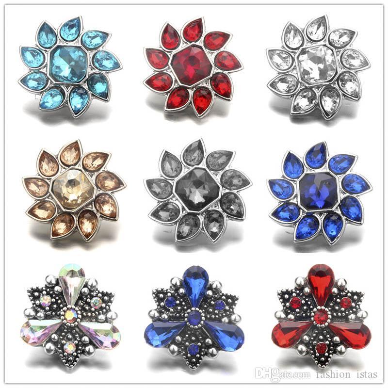 Exquisito Noosa incrustaciones Crystal Metal flor botones a presión 18mm botón encantos para DIY hallazgos de la joyería Snap