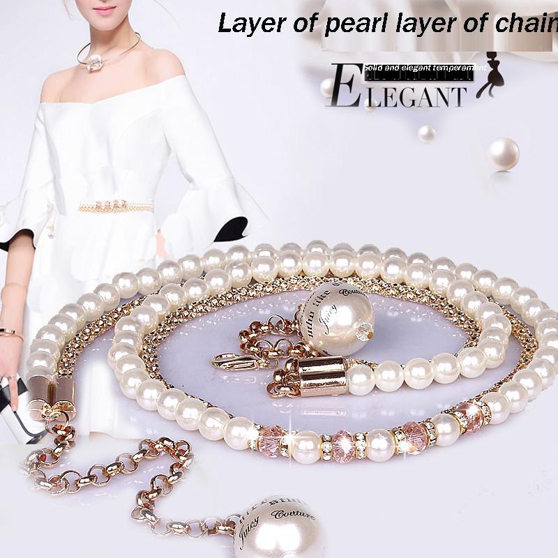 Feimu Allgleiches Perlenbauchkette Frauenkristalldiamant-dünner Gurt einteiliger Kleiddekoration-Zusatzbügel