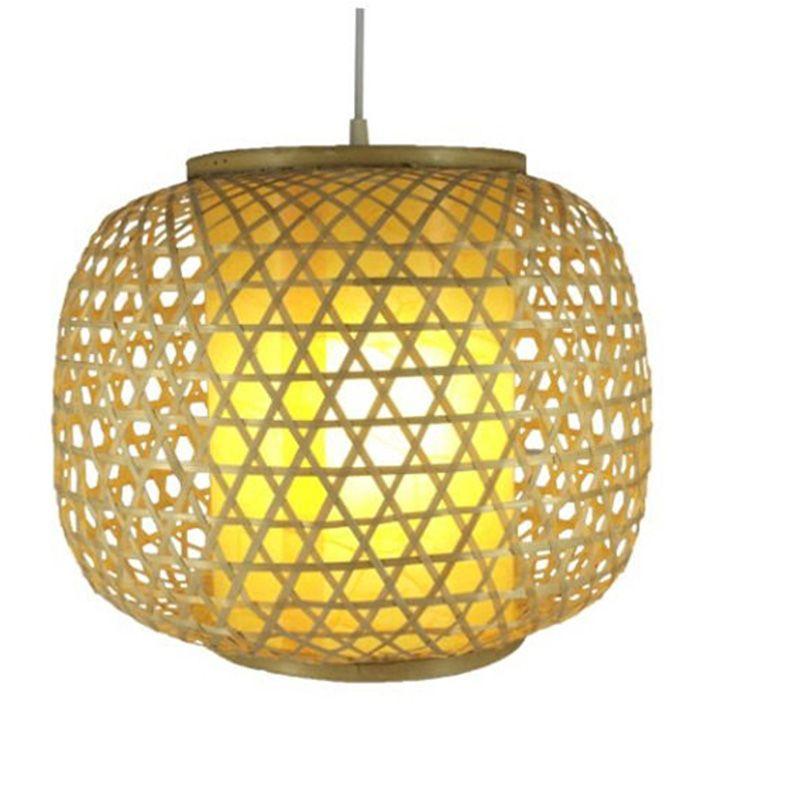Ручной бамбука ткачество круглый кулон лампы E27 ресторан бордовый кулон висит бар декор освещение подвеса Fixtue G018