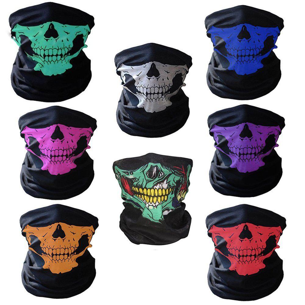16-in-1 Masque multifonctions crâne Masques Halloween moitié visage - Sports écharpe magique Bandeau Couvre-chef pour l'extérieur Foulard (blanc, rouge, rose, G