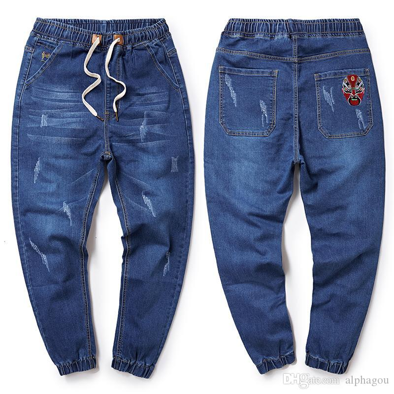 2018 Spring Plus Size M-6XL 7XL 8XL Jeans Dark Blue Casual Middle Waist Loose Long Pants Male Solid Denim Harem Pants For Men