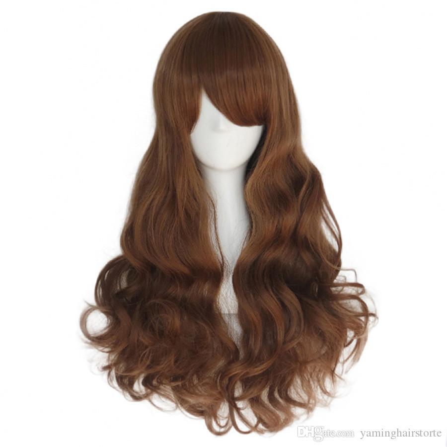 긴 물결 모양의 코스프레 가발 23가 색상의 흑인 여성을위한 내열성 합성 가발 핑크 레드 블루 골든 22 인치 헤어 가발