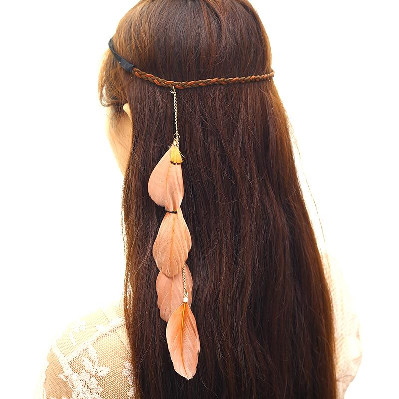 European style Bohemia style feather at seaside resort creative Indian antique hair accessories