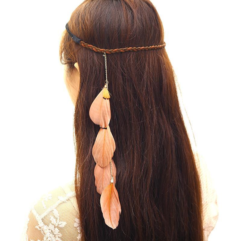 Pluma de estilo bohemia de estilo europeo en accesorios para el cabello antiguos indios creativos del balneario