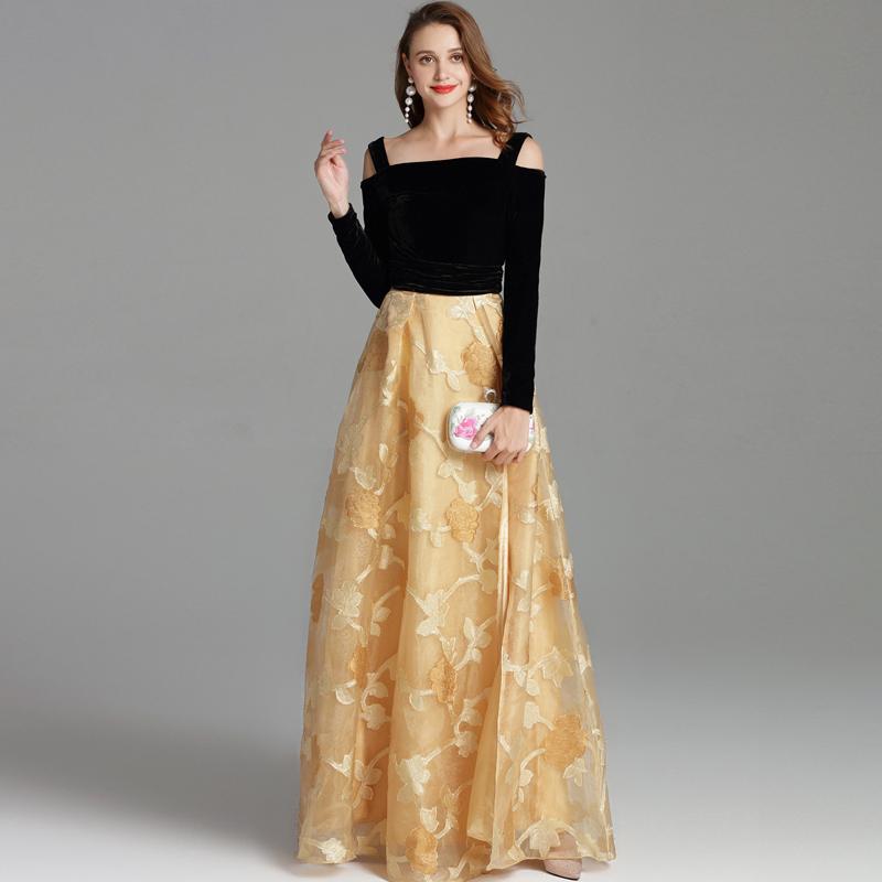 Herbst Runway Kleider Spaghetti-Trägern Velvet Mieder Stickerei Party Prom Sexy Split Fashion Lange Designer Kleider