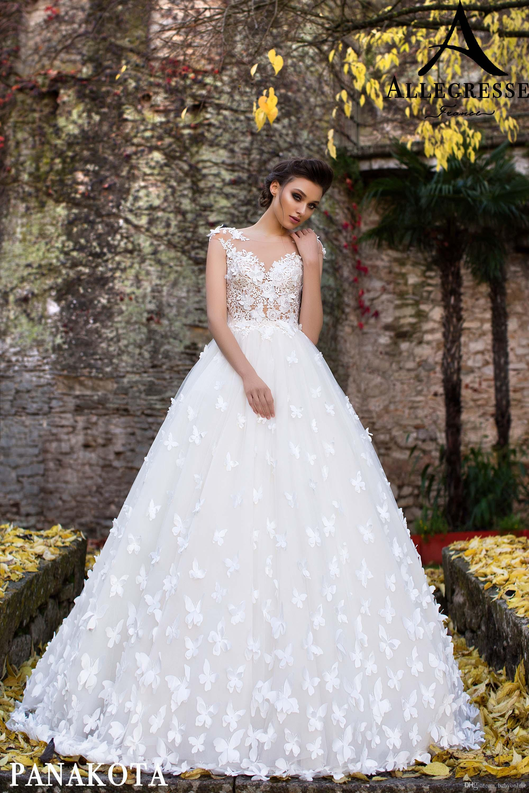 Discount Beautiful White Butterflies Hand Made Flowers Flare Fitted Bridal Wedding Dresses New Sheer Neck Cap Sleeves Appliques Long Bridal Gowns Lace A Line Wedding Dress Modest Wedding Gowns From Babyonline 159 04