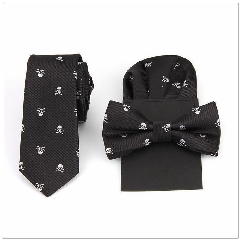 corbata pajarita pañuelo conjunto estampado calavera pañuelo bolsillo cuadrado poliéster pañuelo bowknot handkie boda rojo negro azul