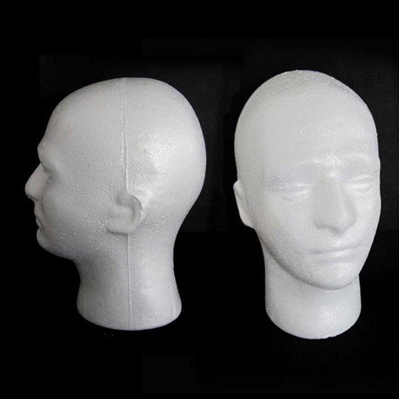 MALE PLASTIC DISPLAY HEAD MANNEQUIN MANAKIN WHITE