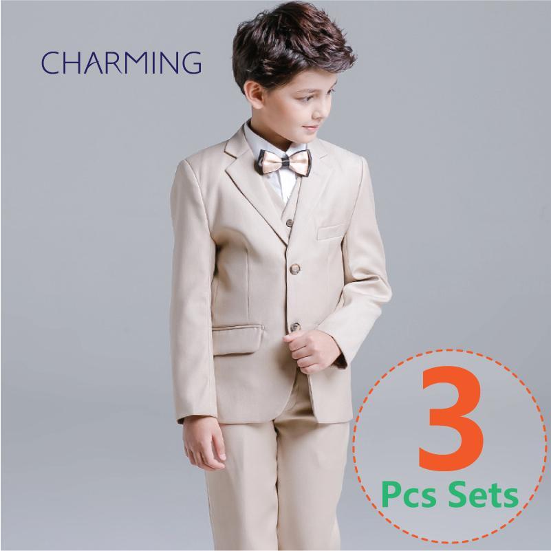 Boys Kids Gentleman Formal Suit Tuxedo Dress Christening Waistcoat Shirt Pants