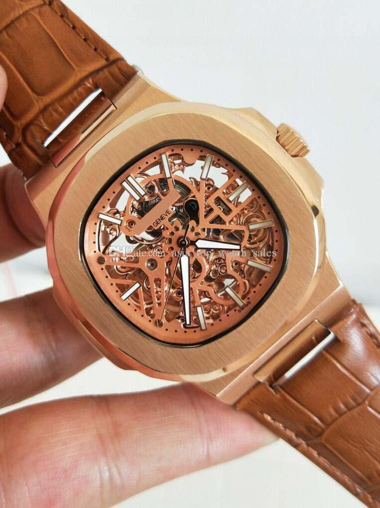 Najnowsza wersja Luksusowy Zegarek Wysokiej Jakości 46mm 18 K Gold Hollow Out Dial Ruch Automatyczny Moda Zegarki męskie