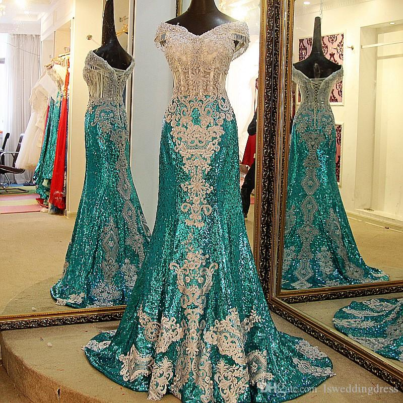 Party Dresses Long Shiny Sweetheart Green Mermaid Evening Dresses Off The Shoulder Short Sleeves Tassel Corset Back Sexy Long Prom Dresses