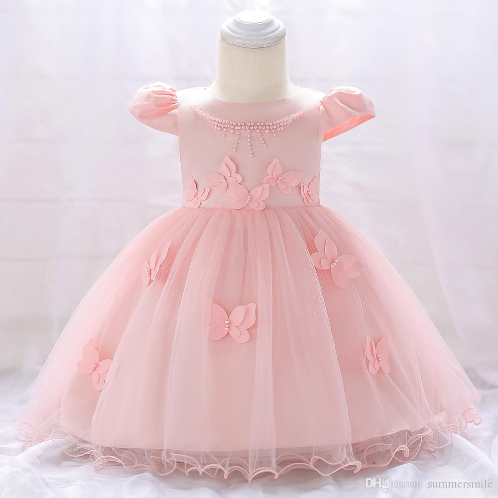 Female baby flying sleeve dress beaded wedding dress three-dimensional butterfly princess infant child full moon dress